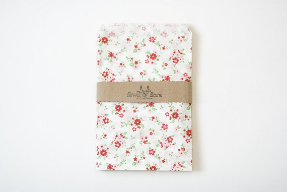 Large Floral Print Glassine Paper Bags (Set of 10)