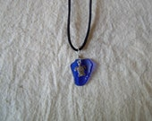 large Hawaii Dark Blue Sea Glass & Sea Turtle Pendant Jewelry