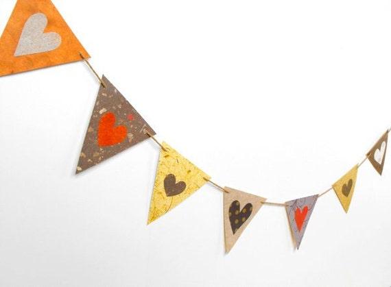 FALL WEDDING GARLAND-pennant banner bunting-rustic wedding-autumn home decor-fall colors