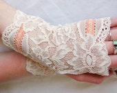Peaches and Cream Lace Fingerless Gloves: Wedding, Prom, Bridal ,Gloves, Peach, Ivory, Victorian, Vampire,Cuff, Altered couture, Steampunk