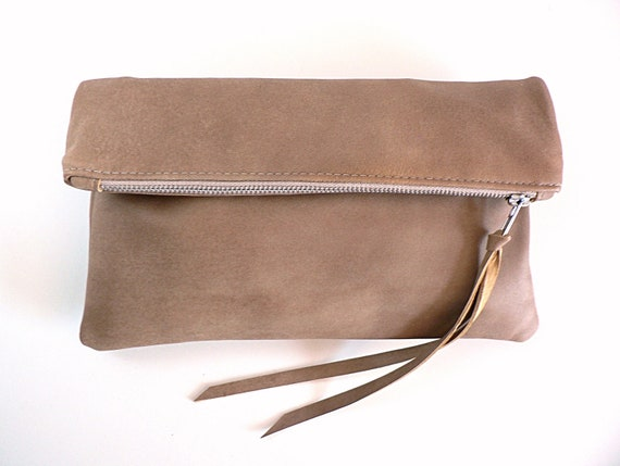 Taupe Lambskin Leather Clutch