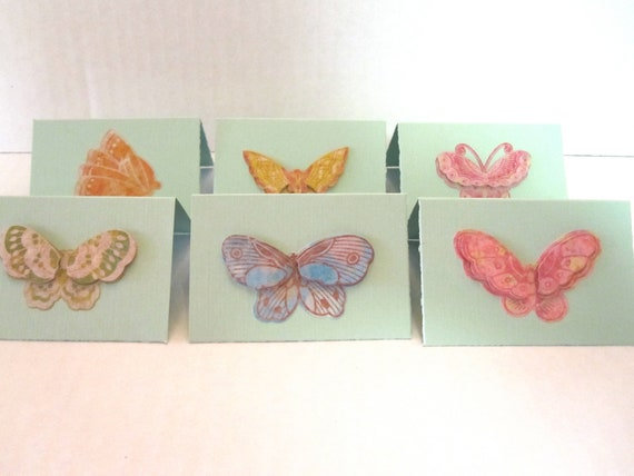 Green Butterfly Mini Note Cards Set of 12 Birthday Thank You Cards Favor Tags