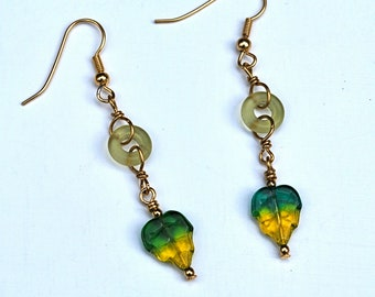 Yellow and Green Czech Glass Leaf Earrings