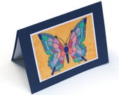 Cloisonne Butterfly, Stained Glass blank card, Butterfly card, note card, greeting card, birthday card