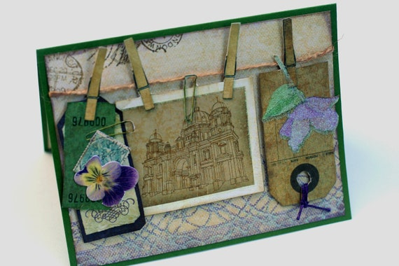 English garden 3d note card, violet flower, Vintage inspired Travel collage greeting card, purple Green blank card, note cards