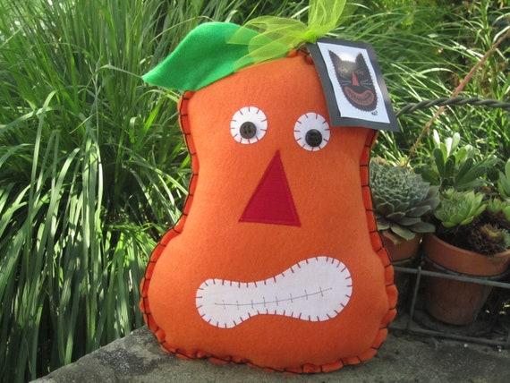 SALE - Halloween and Autumn Pumpkin Felt Fabric Pillow Decoration