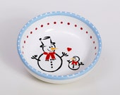 Snowman Christmas Bowl / Daddy and Baby / Red Blue White / Measuring Line 100ml / Ready to Ship