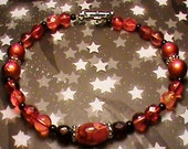 BURNING FIRE Orange, Red, Black & Silver Glass Bead Bracelet