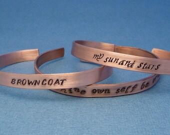 A Custom Hand Stamped Copper Cuff Bracelet