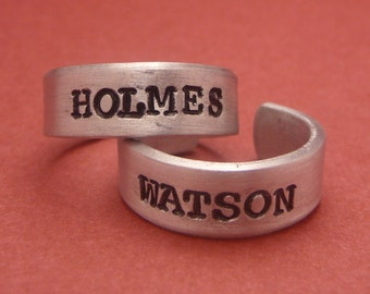 Sherlock Holmes Inspired - Holmes and Watson - A Set of 2 Hand Stamped Aluminum Rings