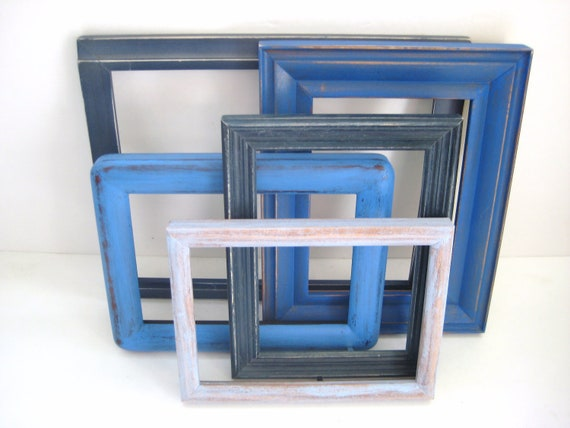 Shabby Chic Photo Frames - Cottage Blue - Gallery of 5 With Glass - Beachy Distressed