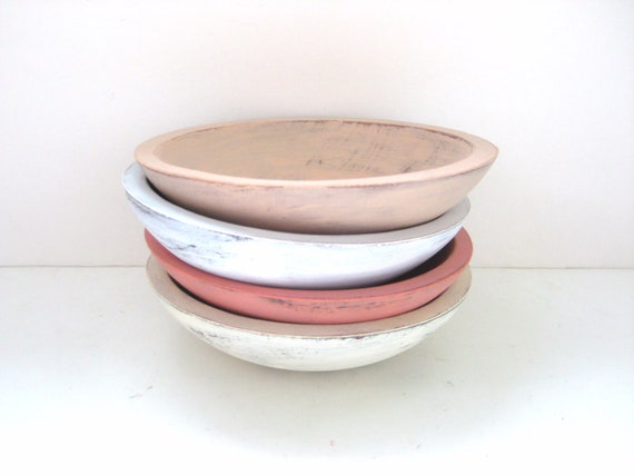 Storage Bowls - Shabby Chic Pretty - Set of 4 - Soft Colours