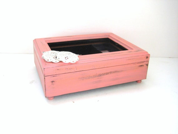 Jewelry Music Box - Coral Shabby Chic - Photo Memory Box - Gift Idea