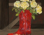 Fine Art Giclee Print, Red Boot, Yellow Roses, Pastel Painting By Jan Maitland, Western Theme, Still Life, Western Red Boot