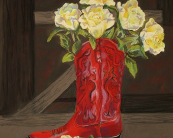 Western Boot Fine Art Giclee Print, Red Boot, Yellow Roses, Pastel By Jan Maitland, Western Theme, Still Life, Archival, 8 X 10
