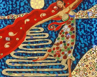 Dancer Fine Art Giclee Print, Archival Print, Reverse Painting By Jan Maitland, Figure, Dancer, Whimsical, 5X7 Image ,  Archival Paper