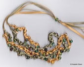 Crocheted Beaded Ribbon Necklace, hand-made