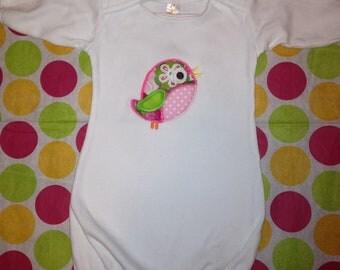 Custom Tweet Bird Applique infant gown
