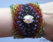 Cuff bracelet with small Czech glass beads, hand crochet womens beadwork jewelry