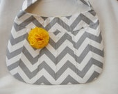 Gray Chevron Large Buttercup Bag with Yellow Fabric Flower