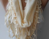 Beige Scarf with Trim Edge Shaped Leaves