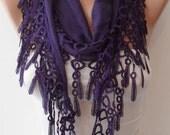 Dark Purple  - Lightweight Summer Scarf with Purple Trim Edge -
