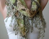 New - Lightweight Scarf in Green with Trim Edge - Green Roses