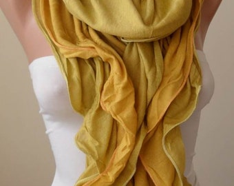 New Scarf - Trendy - Ruffle Scarf -  Mustard/Yellow - Combed Cotton Scarf