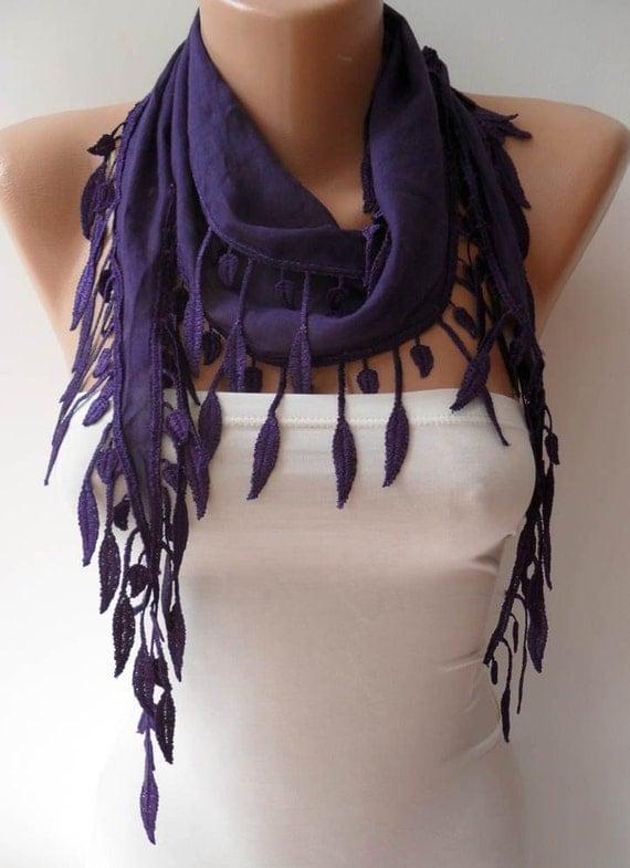 Autumn Trend - Purple Scarf with Trim Edge - Lightweight Cotton Scarf