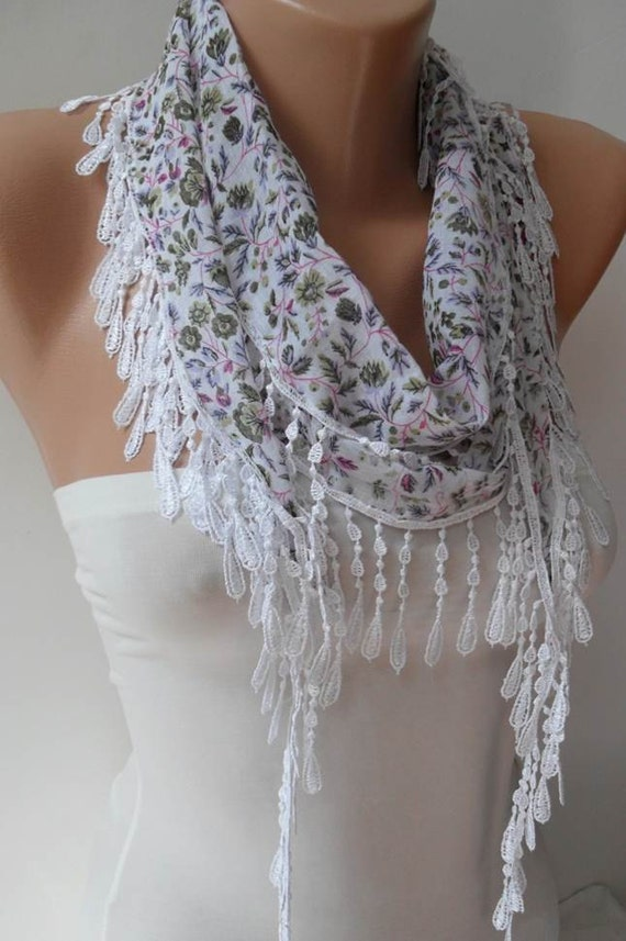White and Flowered Scarf with White Trim Edge - Summer Trend