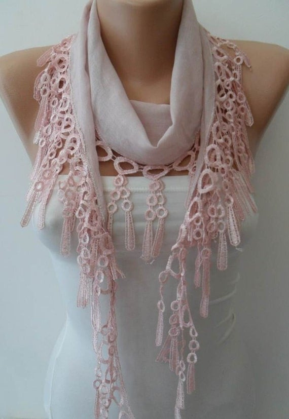 pale pink lightweight summer scarf with trim by swedishshop