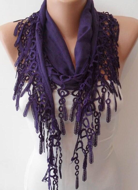 purple lightweight summer scarf with purple trim edge
