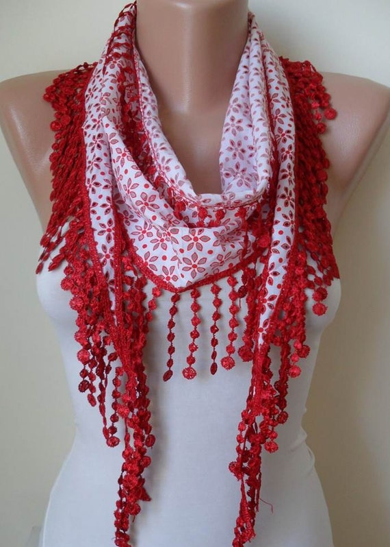 SALE SALE SALE - Perforated Fabric - White and Red Cotton Scarf with Red Trim Edge
