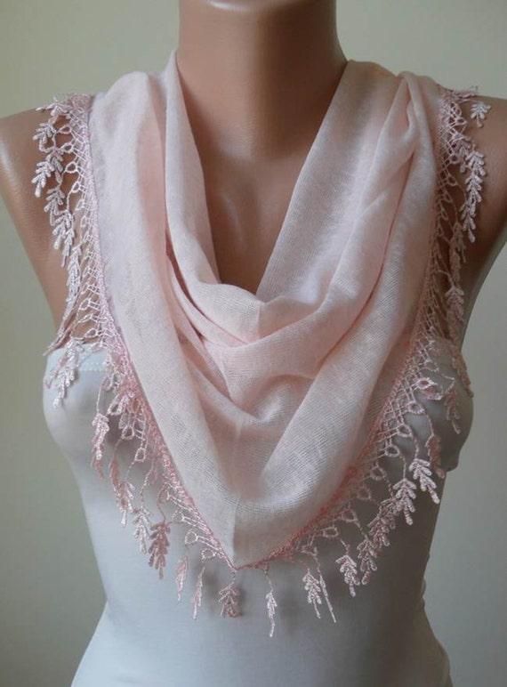 Christmas Gift - Light  Pink Scarf with Trim Edge - Triangular