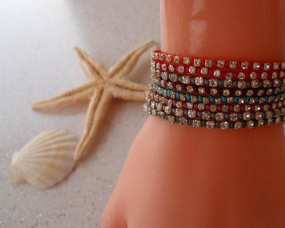 Friendship Bracelet - Macrame Bracelets- Rhinestone Bangle - Bracelet - Summer Style - Beach - Summer - 8 different colors - Choose only ONE