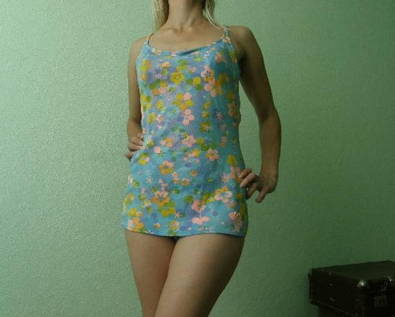 Vintage 60's bathing suit. One piece pin up style pastel floral swimsuit size Medium, B-C cup. From Western Germany