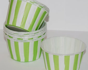 Candy Cups - GREEN Stripe Baking cupcake liners grease proof muffin cups Candy cup  Icecream treat dessert portion cups - (24) count