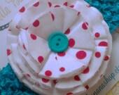 Handmade Shabby Chic DR SEUSS Inspired Fabric Flower on Turquoise Crocheted Headband