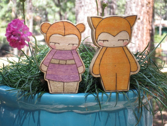 Fox and Child Duo Wooden Dolls