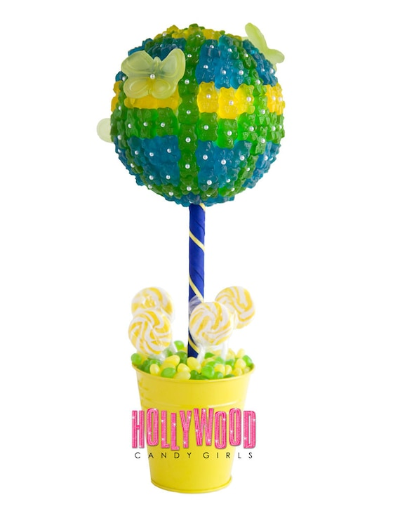 Blue green yellow gummy bear candy land centerpiece topiary
