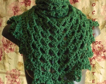 Crochet Shawl Pattern. Easy and Fast Project. PDF 018.