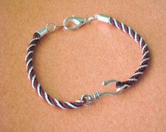 Fish hook kumihimo braid bracelet - men's bracelet
