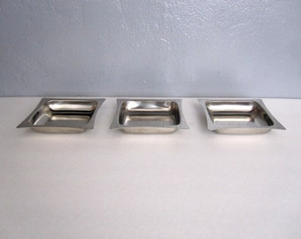 Vintage Modern Stainless Steel Japanese Trays Set of 3