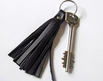 Leather Tassel Keychain, Black color, RECLAIMED