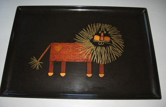 Vintage Couroc Lion With Heart Serving Tray