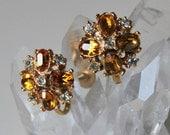 Topaz and Clear Rhinestone Vintage Earrings