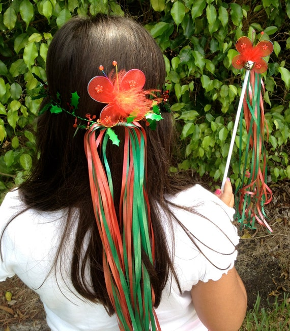 4 green and red christmas Fairy halos and wands, Holiday Christmas Party, Girls fairy party, fairy birthday party
