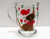 Christmas Coffee Mug with Hand Painted Holiday Cat Gifts Under 15 Dollars