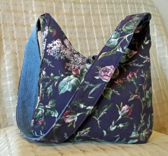 2 in 1 Reversible Handbag Purse Recycled Jeans Denim to Purple Pink Greens Rose Flannel Messenger Bag Purse Quality Craftmanship