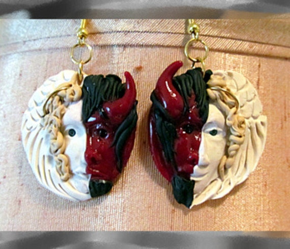 Dangles Earrings Wearable Art Devil Angel Halloween Masquerade Party